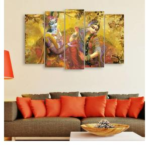 Inephos Multiple Frames Beautiful Radha Krishna Wall Painting Digital Reprint 30 inch x 52 inch Painting