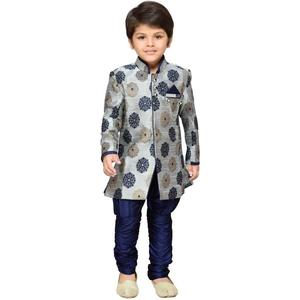AJ Dezines Boys Festive & Party Sherwani and Churidar Set  (Grey Pack of 1)