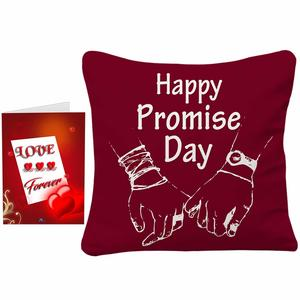 Sky Trends Valentine Combo Gift for Girlfriend Printed Cushion Cover with Filler and Greeting Card Best Gift for Kiss Day Propose Day Promise Day Hug Day Rose Day Gifts