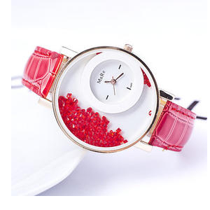 Varni Retail Round Dial Red Leather Strap Analog Watch for Women