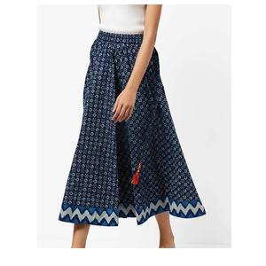 Mid-Rise Printed Flared Skirt with Fringe Tassel
