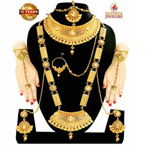 SATHIYA JEWELLERS Gold Plated Bridal Jewellery Necklace Set for Women