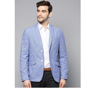 Men Blue Textured Slim Fit Single Breasted Smart Casual Blazer Ats