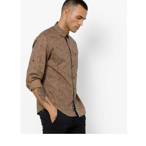 Floral Print Slim Fit Shirt with Patch Pocket