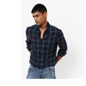 Slim Fit Checked Shirt with Patch Pocket