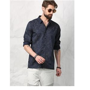 SKULT BY SHAHID KAPOOR MEN BLUE PRINT REGULAR FIT SHIRT
