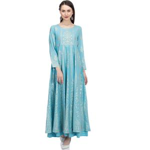 Blue Anarkali Cotton Suit Set