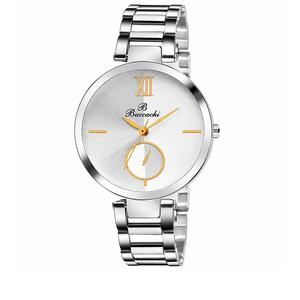 Buccachi Analogue White Round Dial Watch for Women's (B-L1044-WT-CH)