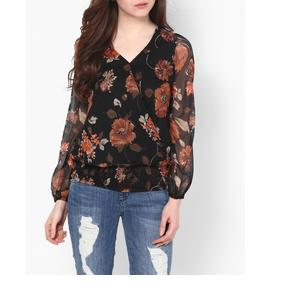 Floral Print Blouson Top with Smocked Hem