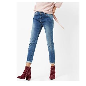 Lightly Washed Ankle-Length Skinny Jeans
