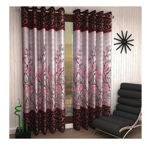 Home Sizzler 153 cm (5 ft) Polyester Window Curtain (Pack Of 2)  (Floral, Maroon)