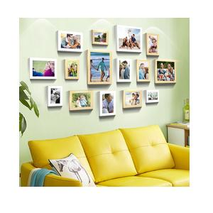 Art Street - Sumptuous Memories White and Natural Color Individual Wall Photo Frame (Set of 15) Mix Size