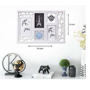 Art Street Bird Cage White Photo Frame Collage (Set of 5) (Photo size- 4x6, 5x7, 4x4)