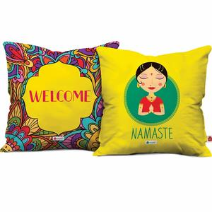 Indigifts Namaste Micro Satin, Fibre Cushion Covers with Filler -Yellow, 12X12 Inches (Set of 2)