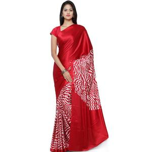 Ratnavati Printed, Digital Prints Fashion Crepe Saree  (Maroon)