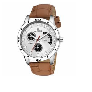 b3b90e6d9f0 Aurex Analouge White Dial Watch Water Resistant Brown Color Strap Watches  for Mens Boys (