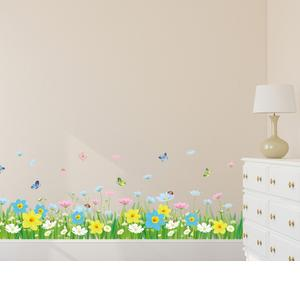 Solimo Wall Sticker for Living Room (Floral Fence with Butterflies, Ideal Size on Wall: 120 cm x 43 cm)