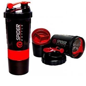 Spider Smart Protein Shaker Bottle for gym with 2 Storage Extra Compartment 500 ml Shaker  (Pack of 1, Red)