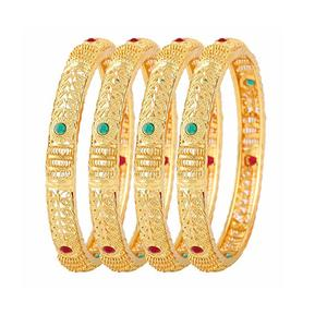 Jewels Galaxy Delicate Design Handcrafted Ruby & Green Gold Plated Bangle Set for Women- Set of 4