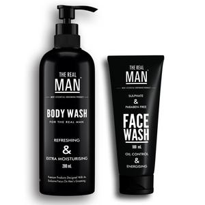 The Real Man Skin Moisturising Body Wash (200ml) & Oil Control and Energising Face Wash (100ml)  (Set of 2)