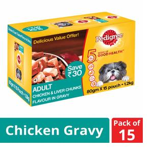 Pedigree Adult Wet Dog Food Food, Chicken & Liver Chunks in Gravy, 15 Pouches (15 x 80g)