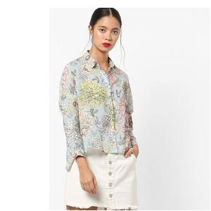 Floral Print Shirt with Concealed Placket