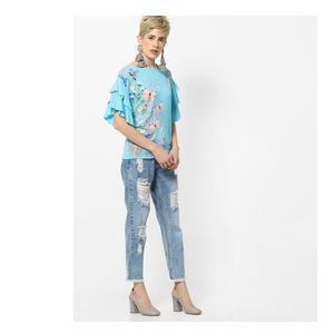 Floral Print Top with Tiered Ruffled Sleeves