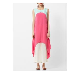 Sleeveless A-line Kurta with Dipped Hems