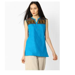 Sleeveless Kurti with Woven Design