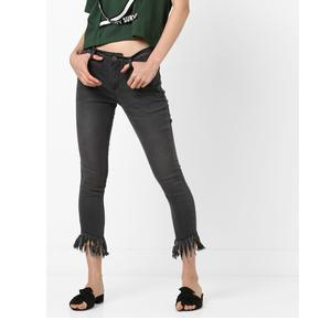 Mid-Rise Skinny Fit Jeans with Fringed Hems