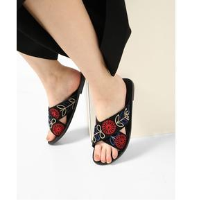 Embroidered Criss-Cross Sandals