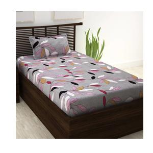 Story@Home 208 TC Cotton Single Floral Bedsheet  (Pack of 1, Beige)