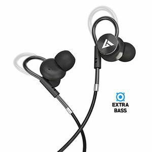 Boult Audio BassBuds Loop in-Ear Wired Earphones with Mic and Deep Bass HD Sound Mobile Hedset with Noise Cancellation and Customizable Ear Loop (Black)