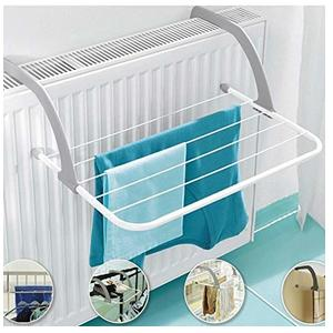 Seven Moon Adjustable Folding Clothes Drying Racks Hanger Shelf Creative Balcony Storage Holder Outdoor Indoor Clothes Towel Drying Rack Hanging on The Door Bathroom Windowsill - White Color
