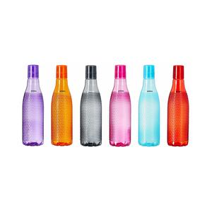 Amazon Brand – Solimo Plastic Fridge Bottle Set (6 pieces, 1L, Checkered pattern, Multicolour)