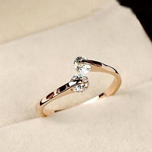 Women Shiny Adjustable Two Zircons Inlaid Knuckle Open Ring Fashion Jewelry