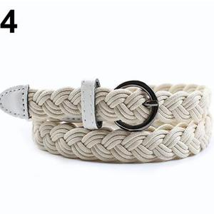 Women Fashion Braided Rope Pin Buckle Belt Wild Casual Dress Decorative Belt