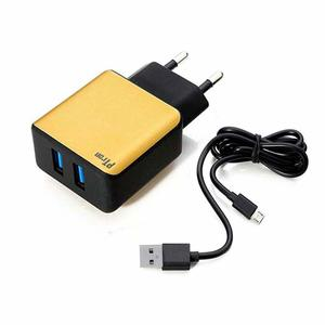 PTron Electra Fast Charger 2.4A Dual USB Port Battery Charger Travel Charger Adapter (Black-Gold)