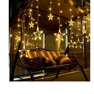 Citra LED Curtain String Lights with 12 Stars and 138 Pieces and 8 Modes Lights (Warm White)