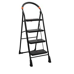 Parasnath Black Heavy Folding Ladder with Wide Steps Milano 4 Steps 4.1 Ft Ladder (Made in India)