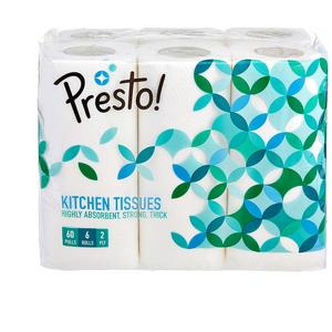 Amazon Brand - Presto! 2 Ply Kitchen Tissue/Towel Paper Roll - 60 Pulls (Pack of 6)
