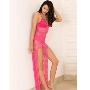 Shyle Fuchsia Pink Deep Plunge Neck Lace Babydoll with high slits