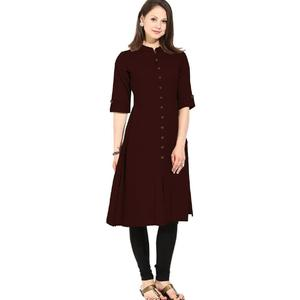 Flavia Creation Women Cotton Solid Straight Kurti - Brown