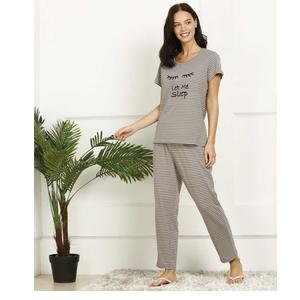 Dreambe  Women Printed Grey Top & Pyjama Set