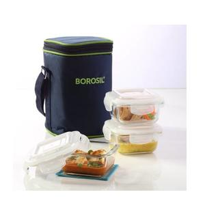 Borosil Set of 3 Klip N Store Microwavable Containers with Lunch Bag 3 Containers Lunch Box  (320 ml)