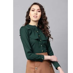 Sassafras  Women Solid Casual Mandarin collar Shirt