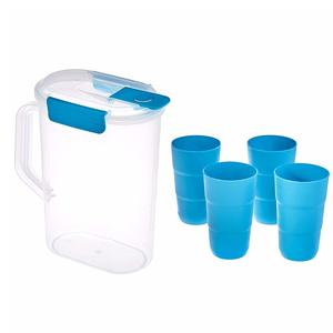 Amazon Brand - Solimo Pitcher with Tumbler Set, Set of 5, Blue
