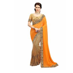 Glory Sarees Georgette With Blouse Piece (diva102orange_Orange and Brown_Free Size)