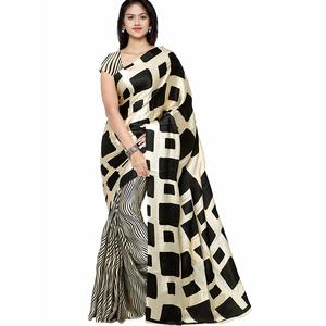 SAREE MALL Women'S Crepe Saree With Blouse Piece (Black & Cream_Free Size )