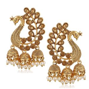 MEENAZ Traditional Gold Plated Pearl Peacock Jhumki Jhumka Earrings for Women Stylish latest design